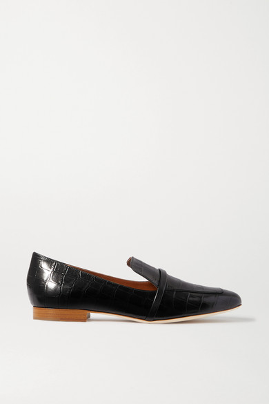 Jane Croc Effect Leather Loafers by Malone Souliers