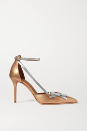 Malone Souliers Josie 85 bow-detailed metallic two-tone leather pumps