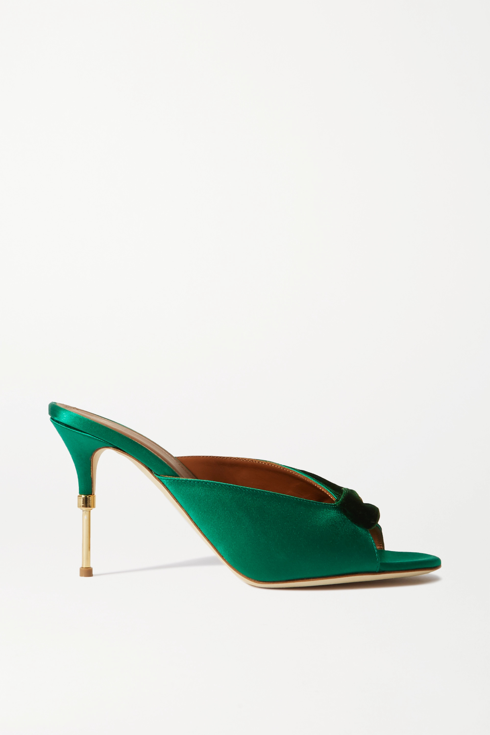 Malone Souliers Paige 85 velvet-trimmed satin mules