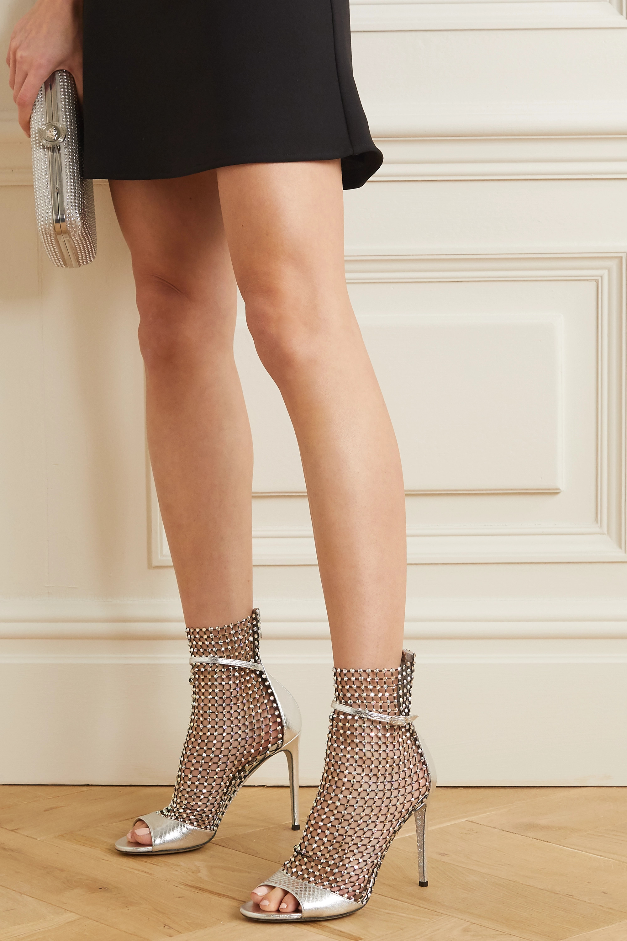 René Caovilla Galaxia crystal-embellished mesh and metallic watersnake sandals