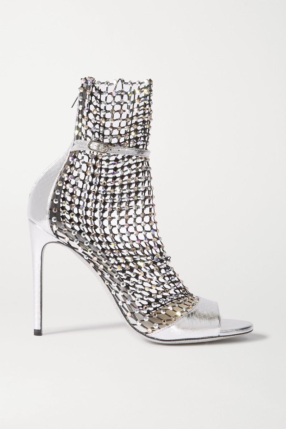 René Caovilla Galaxia 水晶缀饰网眼面料金属感水蛇皮凉鞋