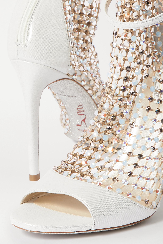 René Caovilla Sandales en cuir métallisé et en résille à cristaux Galaxia