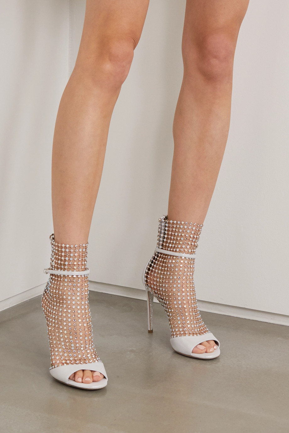 René Caovilla Galaxia crystal-embellished mesh and metallic leather sandals