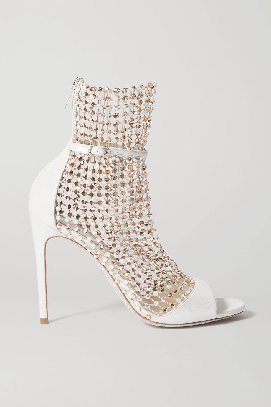 René Caovilla Galaxia 水晶缀饰网布金属感皮革凉鞋