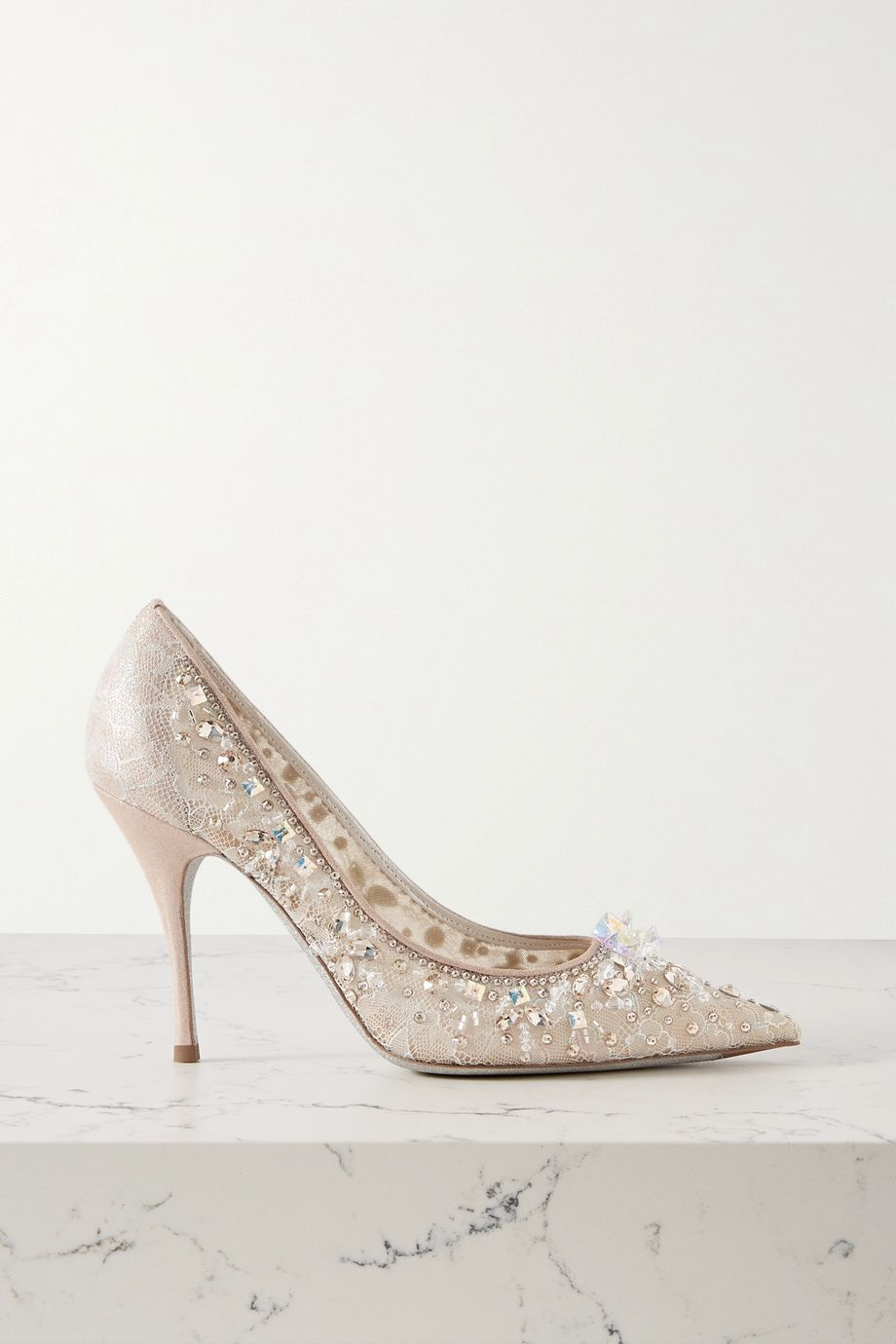 René Caovilla Cinderella embellished lace and satin pumps