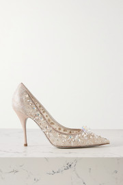 Cinderella embellished lace and satin pumps