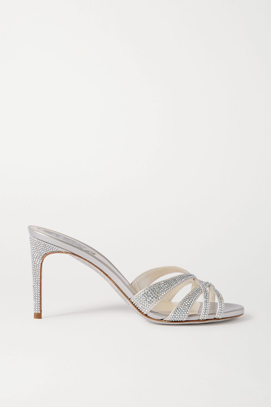 René Caovilla Crystal-embellished satin and leather mules
