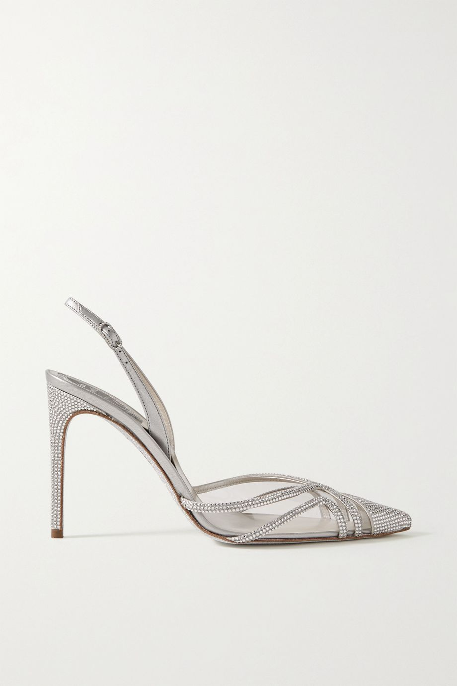 René Caovilla Crystal-embellished metallic leather and PVC slingback pumps