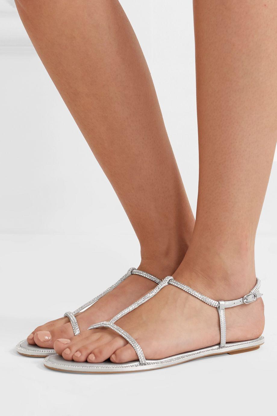 René Caovilla Crystal-embellished leather sandals