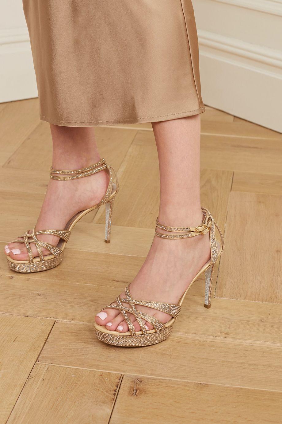 René Caovilla Dania crystal-embellished satin platform sandals