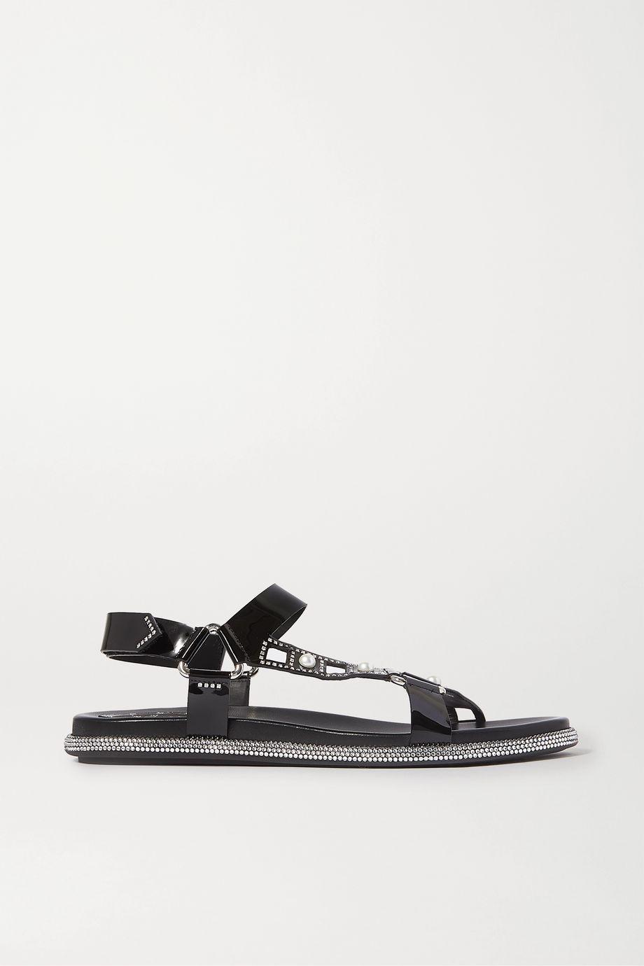 René Caovilla Embellished patent-leather sandals