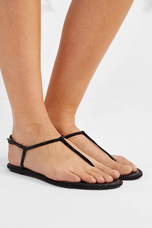 Black Diana Crystal Embellished Satin Sandals Rene Caovilla Net A Porter