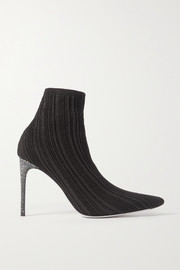 René Caovilla Crystal-embellished metallic ribbed-knit sock boots