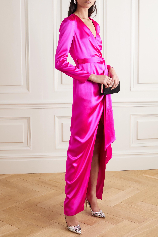 Brandon Maxwell Wrap-effect silk-satin gown