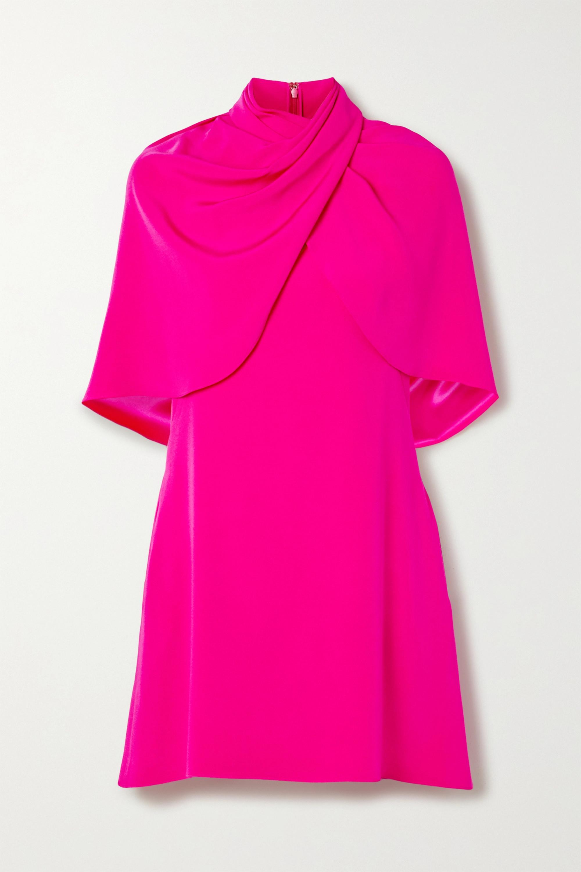 Brandon Maxwell Draped cape-effect silk-crepe mini dress