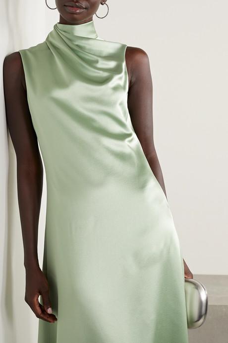 Draped silk-satin crepe midi dress