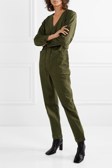 Stretch-Tencel and cotton-blend twill jumpsuit