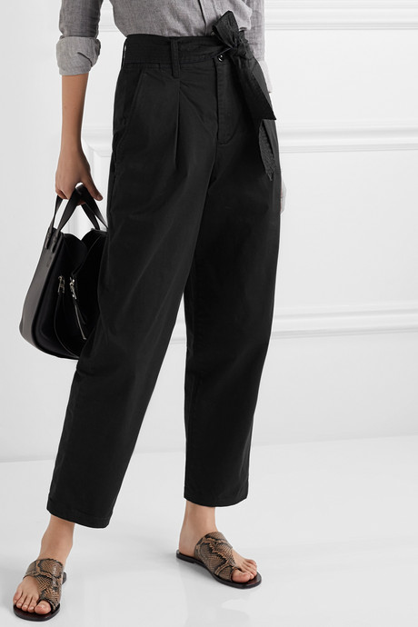 Belted pleated cotton-blend tapered pants