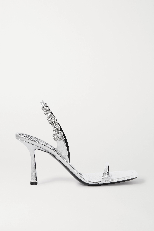 Alexander Wang Ivy crystal-embellished metallic leather slingback sandals