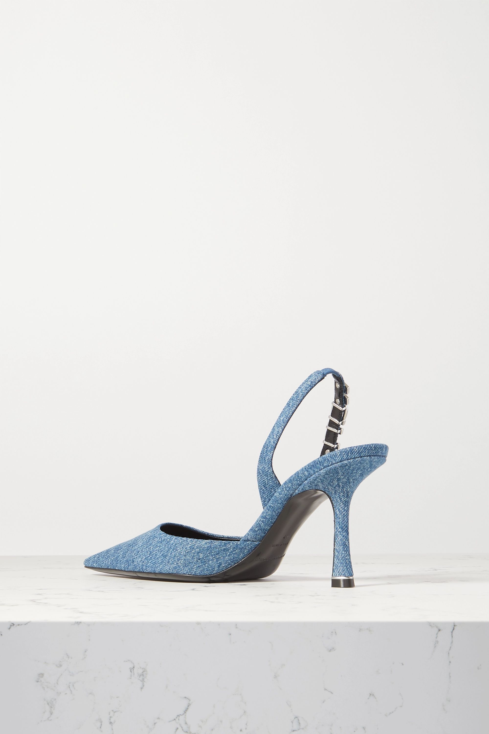 Alexander Wang Grace logo-embellished denim slingback pumps