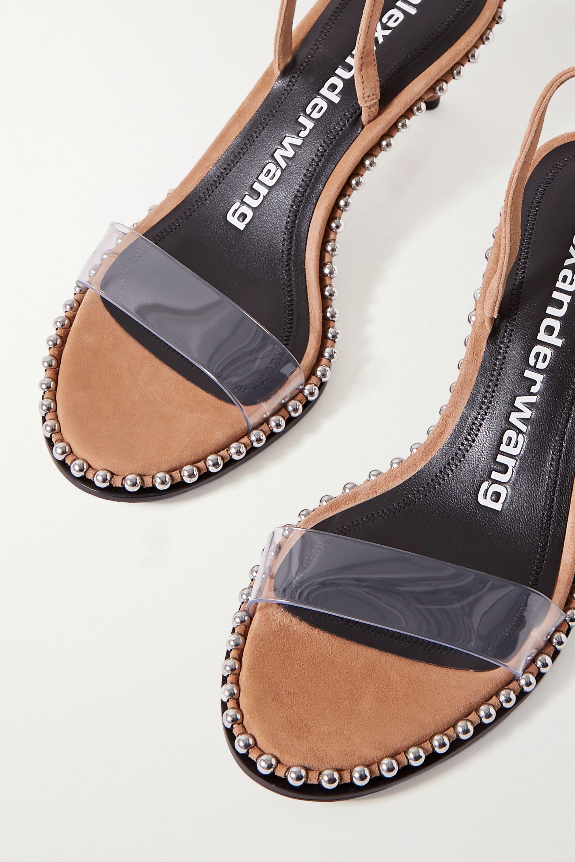 Alexander Wang Nova Low studded suede and PVC slingback sandals