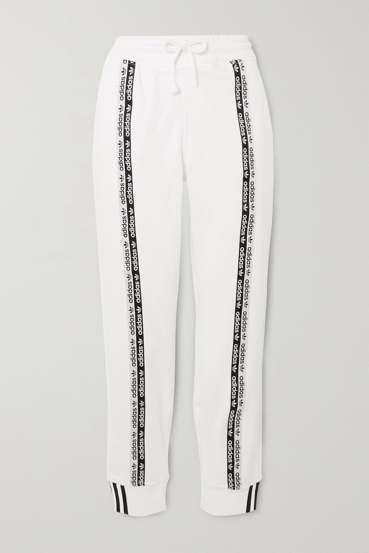 White Striped cotton-jersey track pants   adidas Originals   NET-A ...