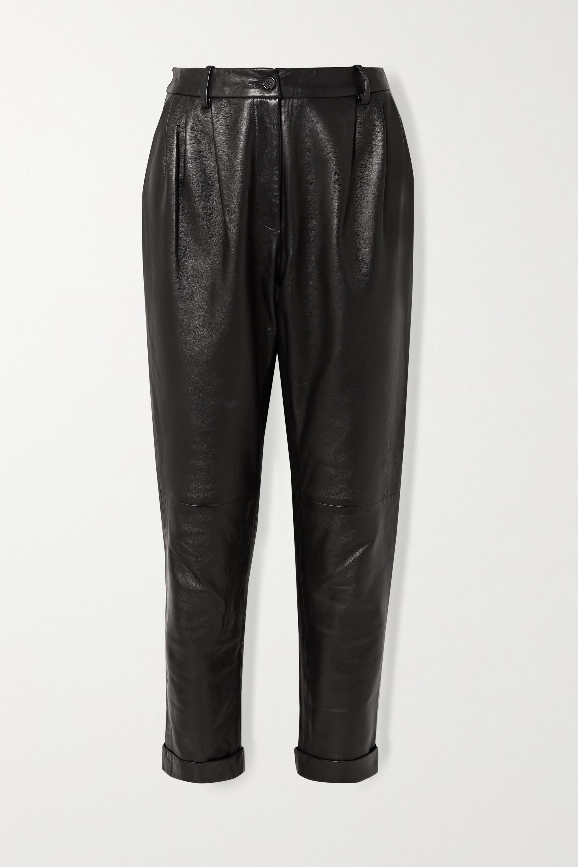 Nili Lotan Montana pleated leather tapered pants