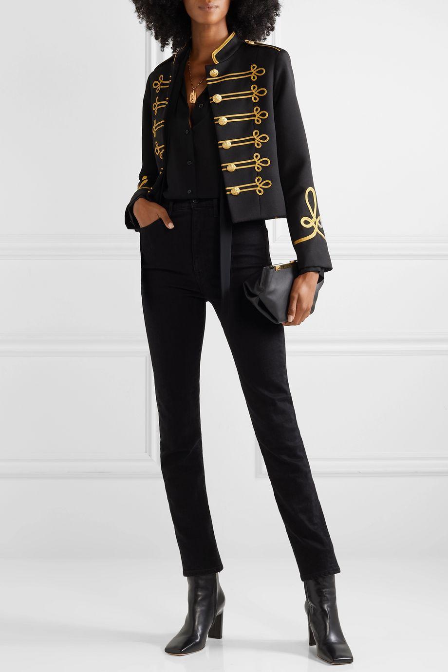 Nili Lotan Jaselle cropped embroidered wool-twill jacket