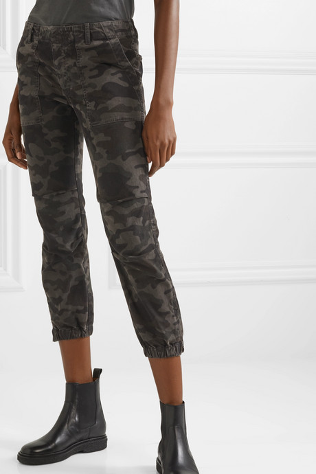 French Military cropped camouflage-print cotton-twill tapered pants