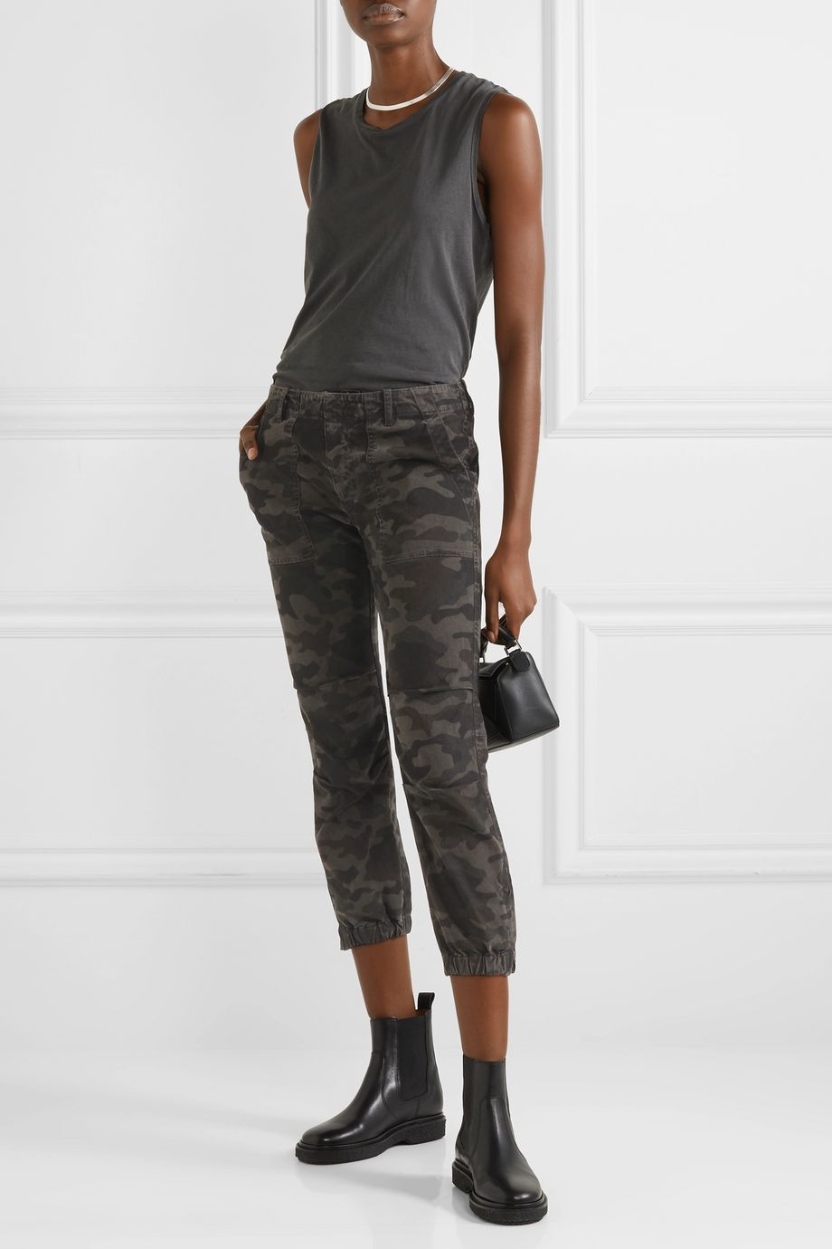 Nili Lotan French Military cropped camouflage-print cotton-twill tapered pants