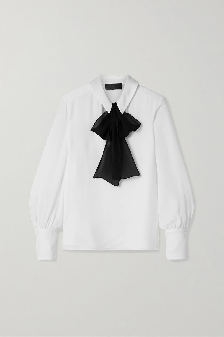 Nili Lotan Leni pussy-bow silk-georgette blouse