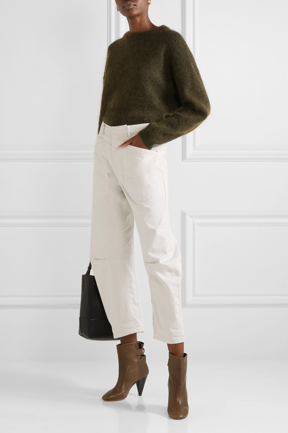Nili Lotan Shon stretch-cotton twill tapered pants