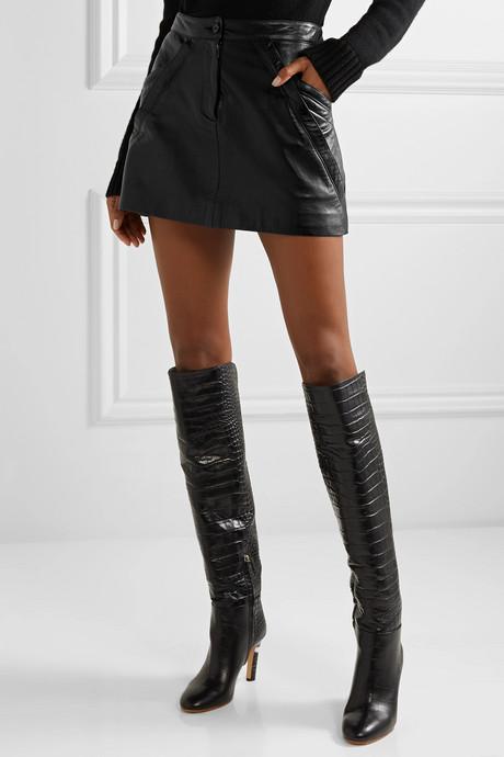 Kade paneled leather mini skirt