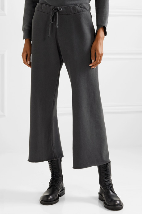 Kiki cropped voile-trimmed cotton-jersey track pants