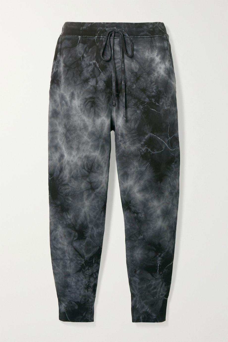 Nili Lotan Nolan cropped distressed tie-dyed cotton-jersey track pants