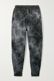Nili Lotan Nolan cropped distressed tie-dyed cotton-jersey track pants