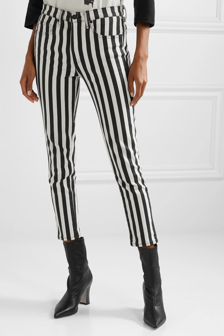 Cropped striped high-rise skinny jeans