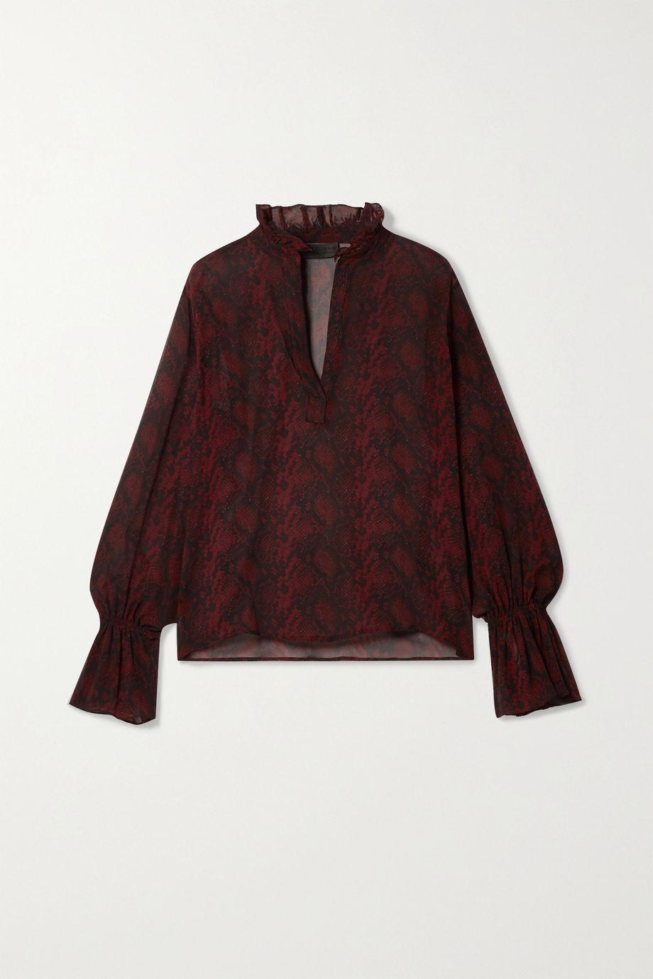 Nili Lotan Demi ruffled snake-print silk-georgette blouse