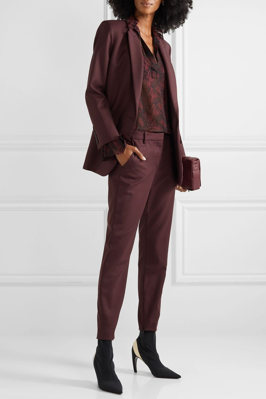 Nili Lotan Leo wool-blend twill tapered pants