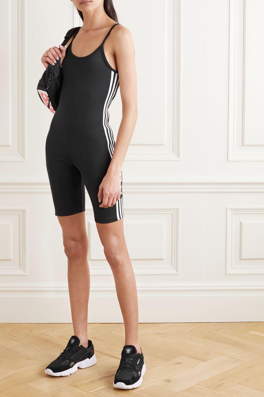adidas Originals Embroidered striped stretch-jersey bodysuit