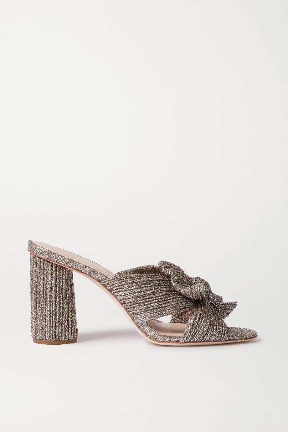Loeffler Randall Penny bow-embellished plissé-lamé mules