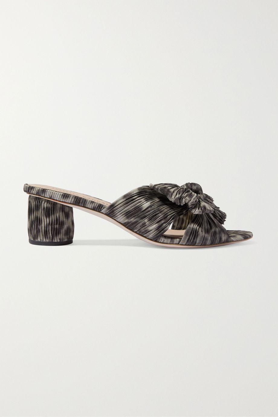 Loeffler Randall Emilia bow-detailed leopard-print plissé-lamé mules