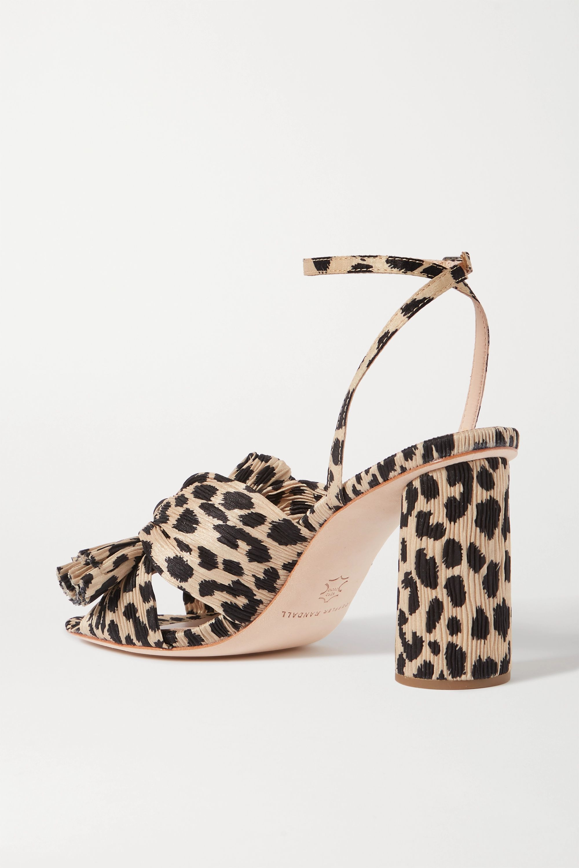 Loeffler Randall Camellia bow-embellished leopard-print plissé sandals