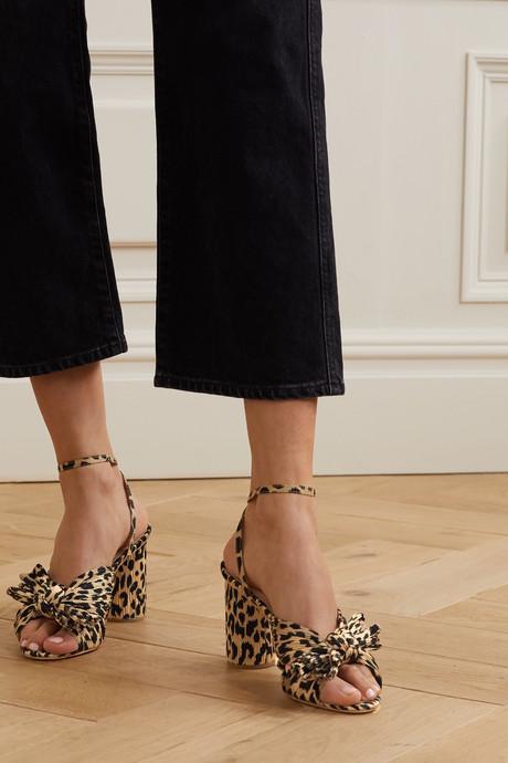 Camellia bow-embellished leopard-print plissé sandals