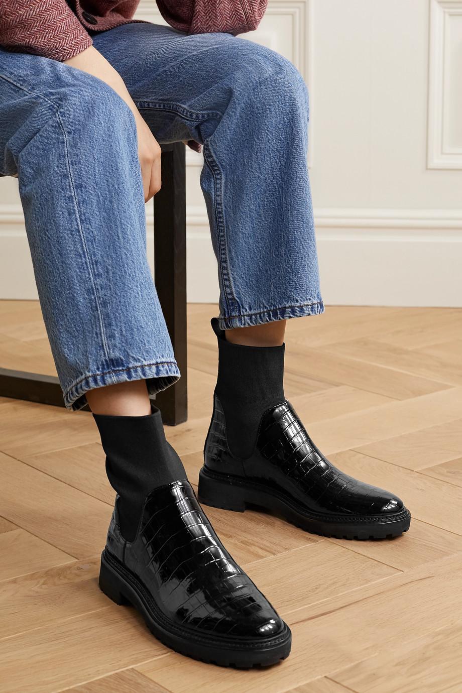Loeffler Randall Bridget croc-effect patent-leather Chelsea boots