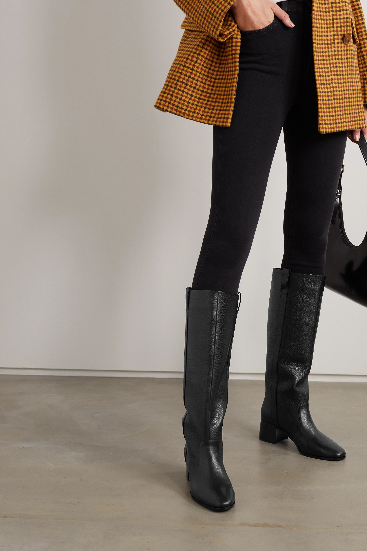 Black Ryan textured-leather knee boots