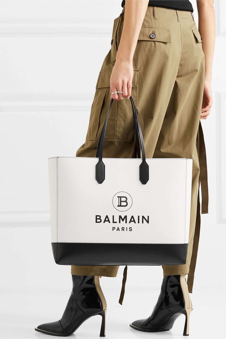 Balmain Printed leather tote