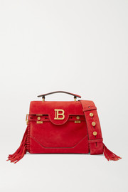 Balmain BBuzz medium fringed suede shoulder bag