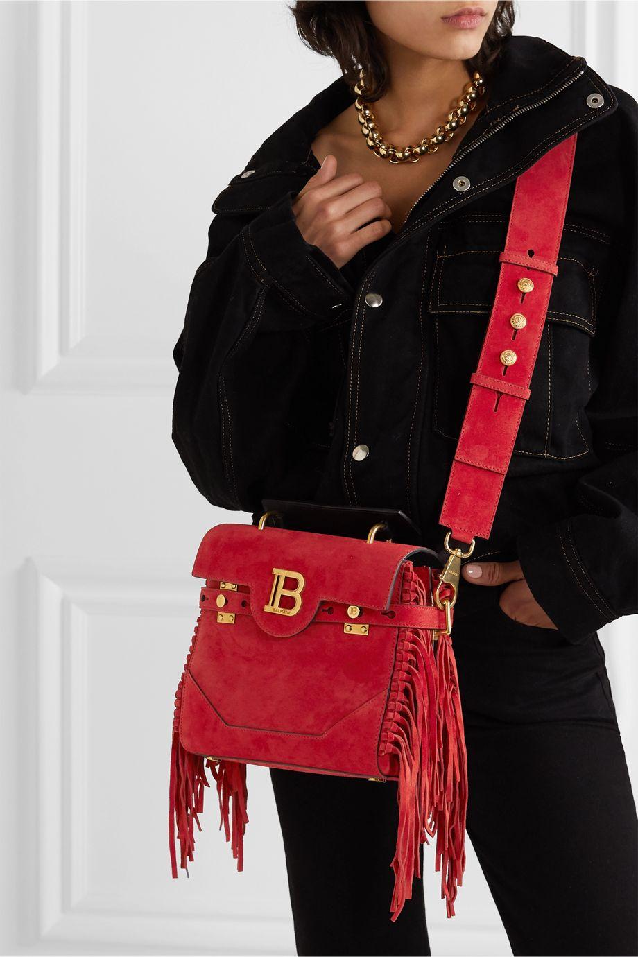 Balmain BBuzz medium fringed suede shoulder bag