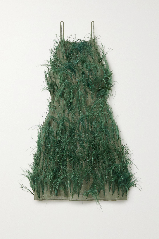 Cult Gaia Shannon feather-embellished silk-chiffon mini dress